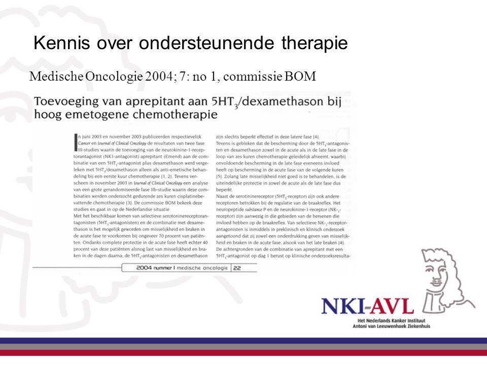 Medische Oncologie 2004; 7: no 1, commissie BOM Kennis over ondersteunende therapie