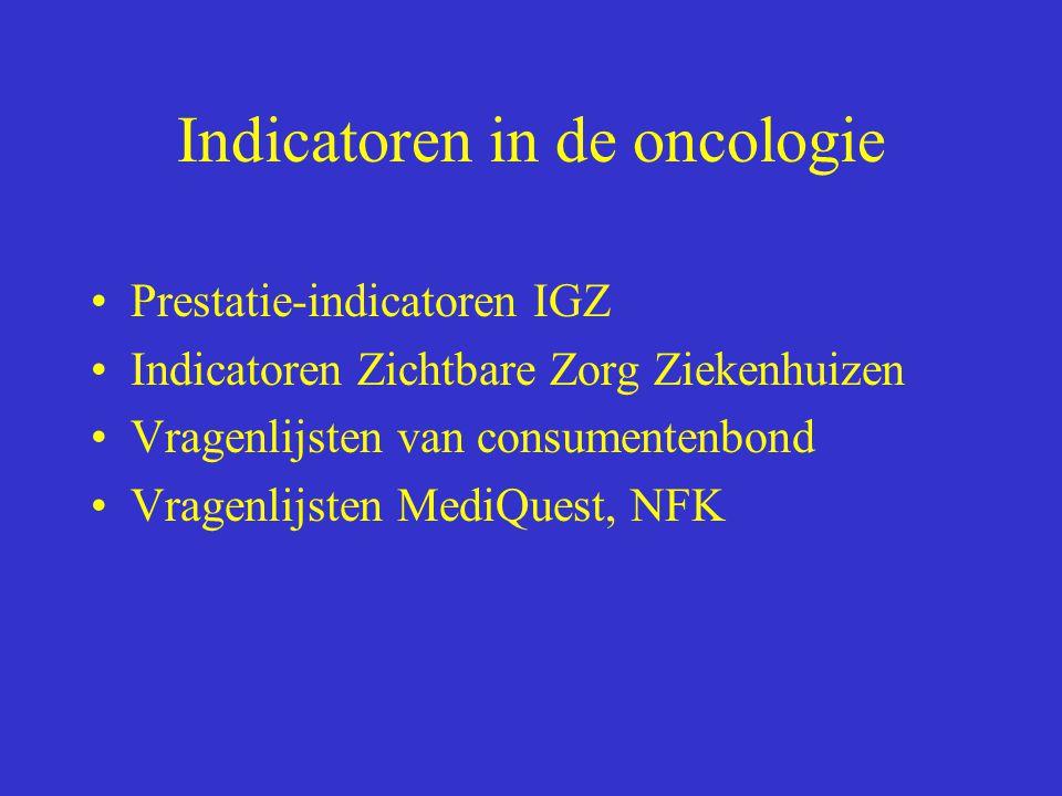 Indicatoren in de oncologie Prestatie-indicatoren IGZ Indicatoren Zichtbare Zorg Ziekenhuizen Vragenlijsten van consumentenbond Vragenlijsten MediQues