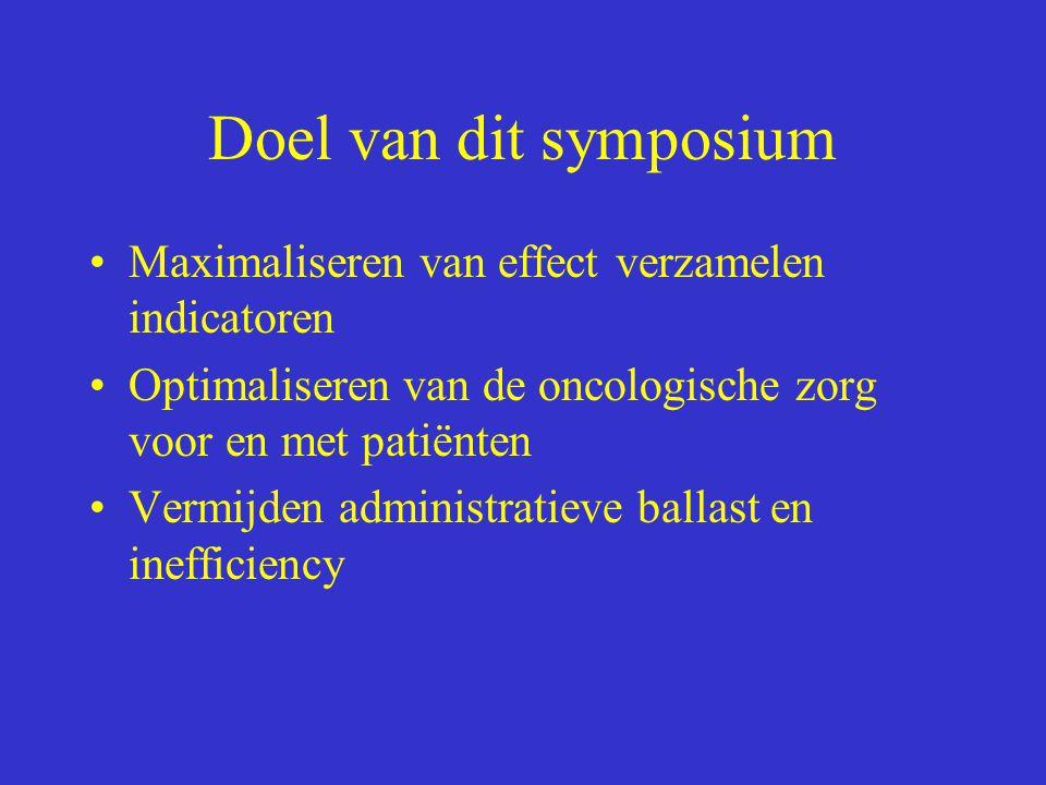 Doel van dit symposium Maximaliseren van effect verzamelen indicatoren Optimaliseren van de oncologische zorg voor en met patiënten Vermijden administ