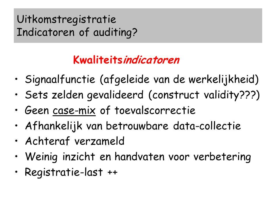 Uitkomstregistratie Indicatoren of auditing? Kwaliteitsindicatoren Signaalfunctie (afgeleide van de werkelijkheid) Sets zelden gevalideerd (construct