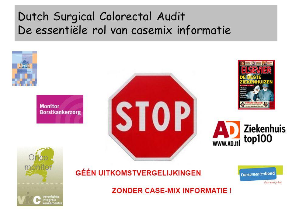 GÉÉN UITKOMSTVERGELIJKINGEN ZONDER CASE-MIX INFORMATIE ! Dutch Surgical Colorectal Audit De essentiële rol van casemix informatie Onco monitor