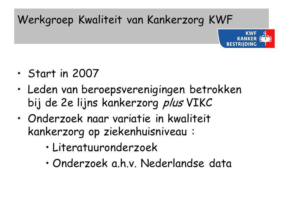 Werkgroep Kwaliteit van Kankerzorg KWF Start in 2007 Leden van beroepsverenigingen betrokken bij de 2e lijns kankerzorg plus VIKC Onderzoek naar varia