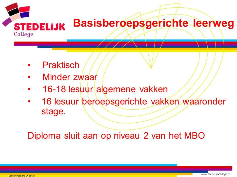 www.stedelijk-college.nl Voorlichtingsavond 2 e leerjaar Praktisch Minder zwaar 16-18 lesuur algemene vakken 16 lesuur beroepsgerichte vakken waaronder stage.