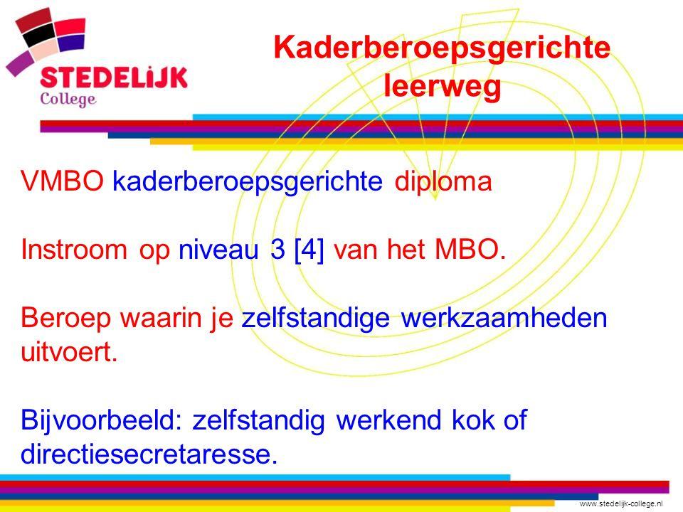 www.stedelijk-college.nl VMBO kaderberoepsgerichte diploma Instroom op niveau 3 [4] van het MBO.