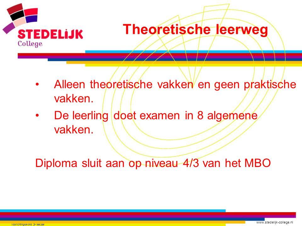 www.stedelijk-college.nl Voorlichtingsavond 2 e leerjaar Alleen theoretische vakken en geen praktische vakken.