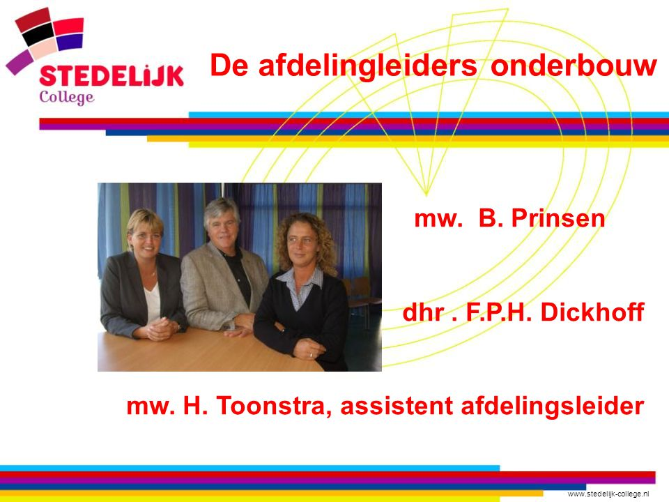 www.stedelijk-college.nl mw. H. van Dijk zorgcoördinator Zorgbureau