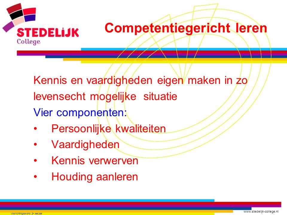 www.stedelijk-college.nl Voorlichtingsavond 2 e leerjaar Kennis en vaardigheden eigen maken in zo levensecht mogelijke situatie Vier componenten: Persoonlijke kwaliteiten Vaardigheden Kennis verwerven Houding aanleren Competentiegericht leren