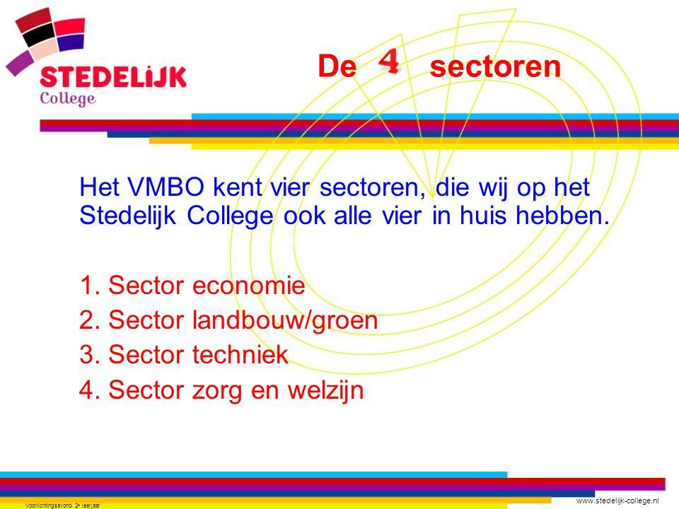 www.stedelijk-college.nl Voorlichtingsavond 2 e leerjaar Het VMBO kent vier sectoren, die wij op het Stedelijk College ook alle vier in huis hebben.