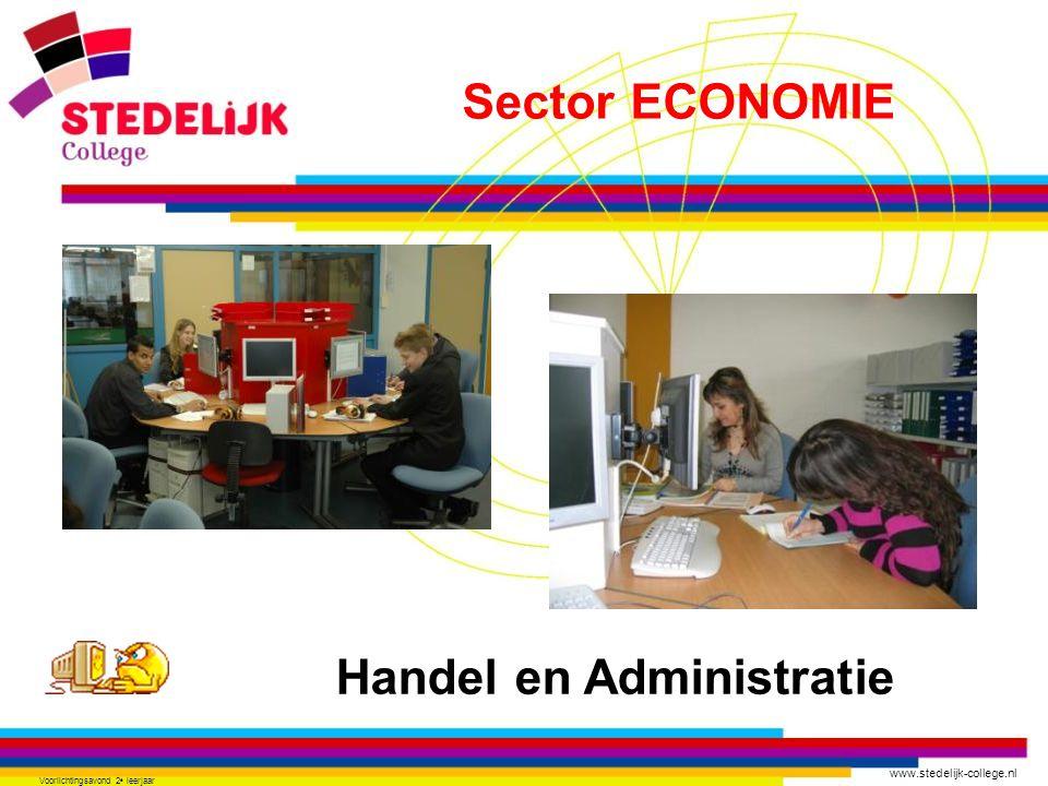 www.stedelijk-college.nl Voorlichtingsavond 2 e leerjaar Handel en Administratie Sector ECONOMIE