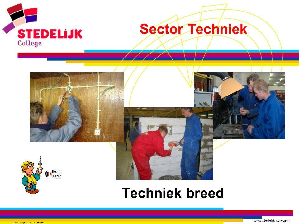 www.stedelijk-college.nl Voorlichtingsavond 2 e leerjaar Techniek breed Sector Techniek