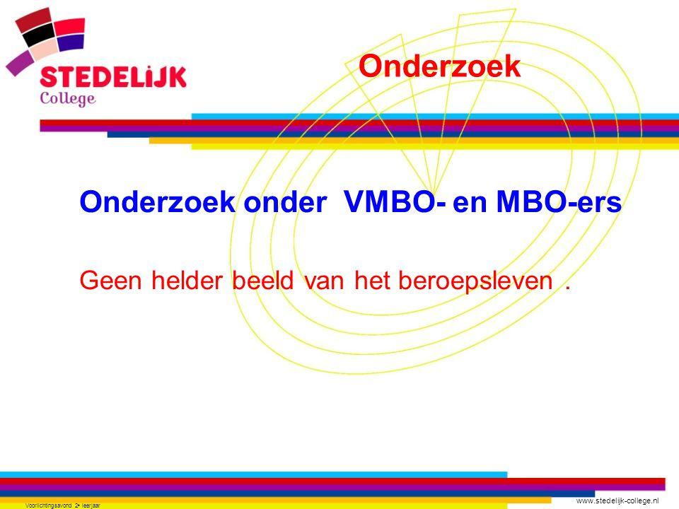 www.stedelijk-college.nl Voorlichtingsavond 2 e leerjaar Onderzoek onder VMBO- en MBO-ers Geen helder beeld van het beroepsleven.