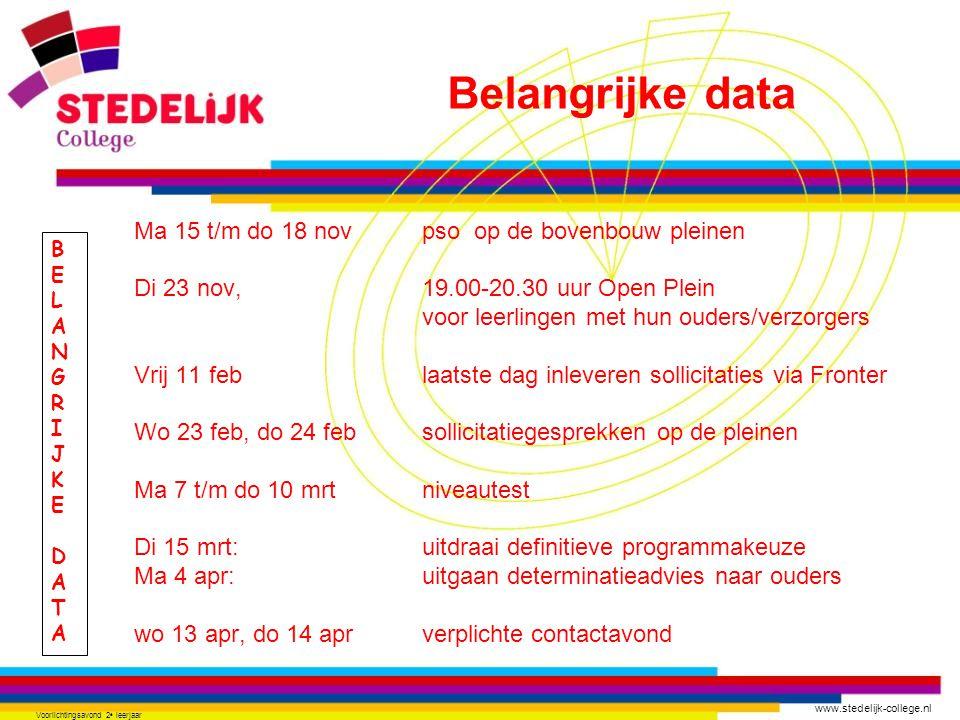 www.stedelijk-college.nl Voorlichtingsavond 2 e leerjaar BELANGRIJKEDATABELANGRIJKEDATA Ma 15 t/m do 18 novpso op de bovenbouw pleinen Di 23 nov, 19.00-20.30 uur Open Plein voor leerlingen met hun ouders/verzorgers Vrij 11 feblaatste dag inleveren sollicitaties via Fronter Wo 23 feb, do 24 febsollicitatiegesprekken op de pleinen Ma 7 t/m do 10 mrtniveautest Di 15 mrt:uitdraai definitieve programmakeuze Ma 4 apr:uitgaan determinatieadvies naar ouders wo 13 apr, do 14 aprverplichte contactavond Belangrijke data