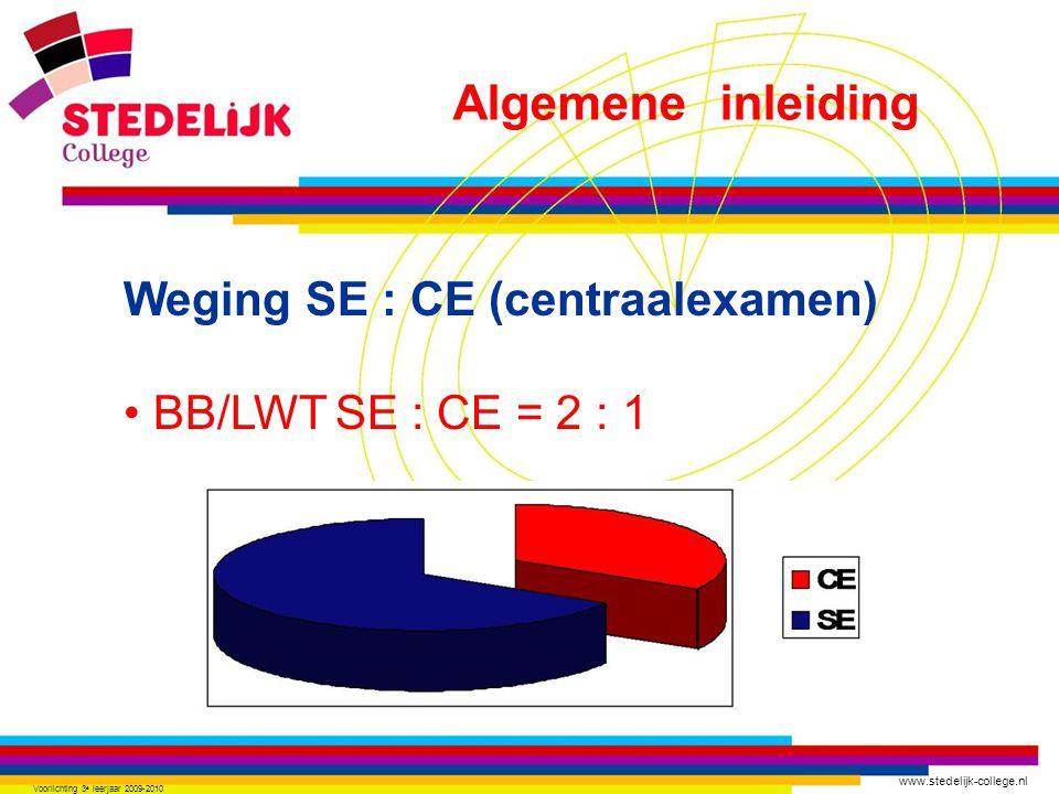 www.stedelijk-college.nl Voorlichting 3 e leerjaar 2009-2010 Weging SE : CE (centraalexamen) BB/LWTSE : CE = 2 : 1 Algemene inleiding
