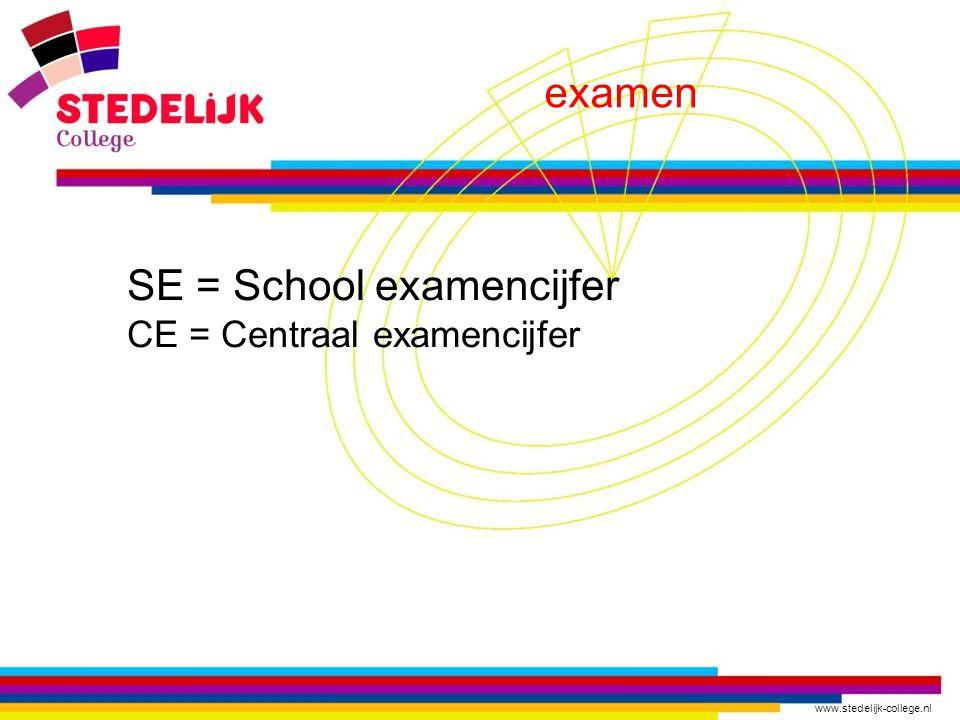 www.stedelijk-college.nl examen SE = School examencijfer CE = Centraal examencijfer