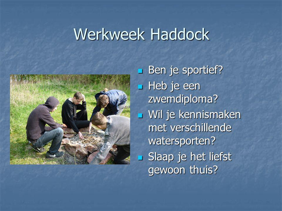 Werkweek Haddock Ben je sportief? Ben je sportief? Heb je een zwemdiploma? Heb je een zwemdiploma? Wil je kennismaken met verschillende watersporten?