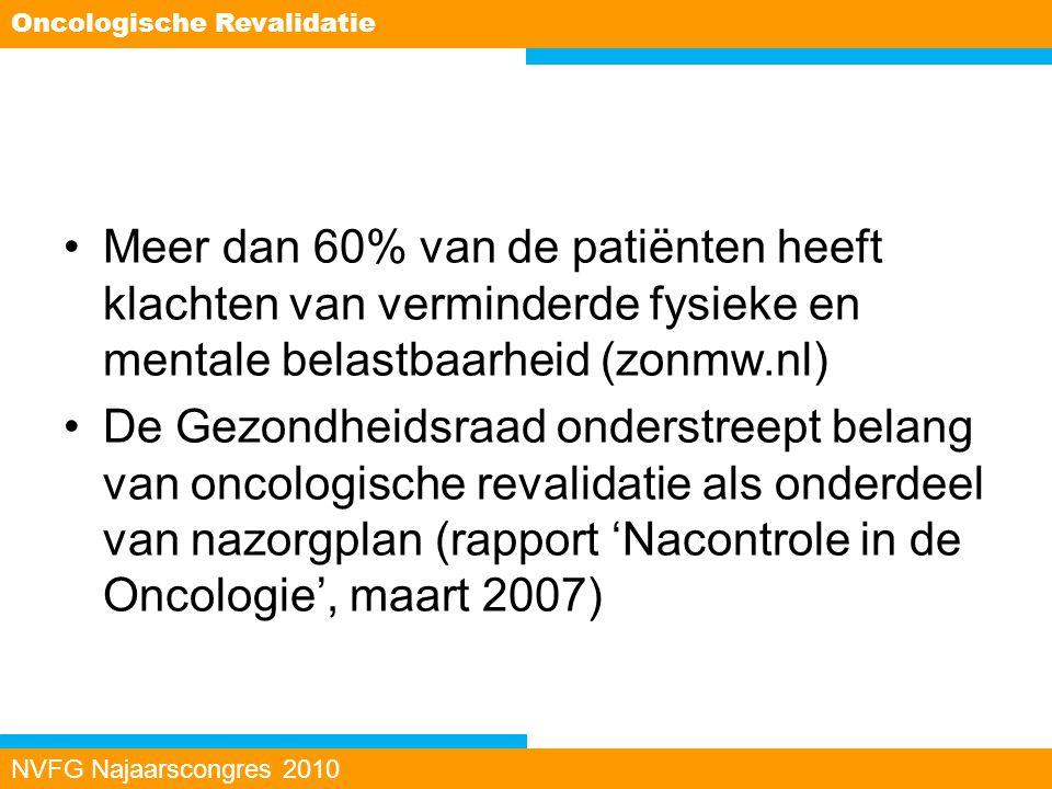 Meer dan 60% van de patiënten heeft klachten van verminderde fysieke en mentale belastbaarheid (zonmw.nl) De Gezondheidsraad onderstreept belang van o