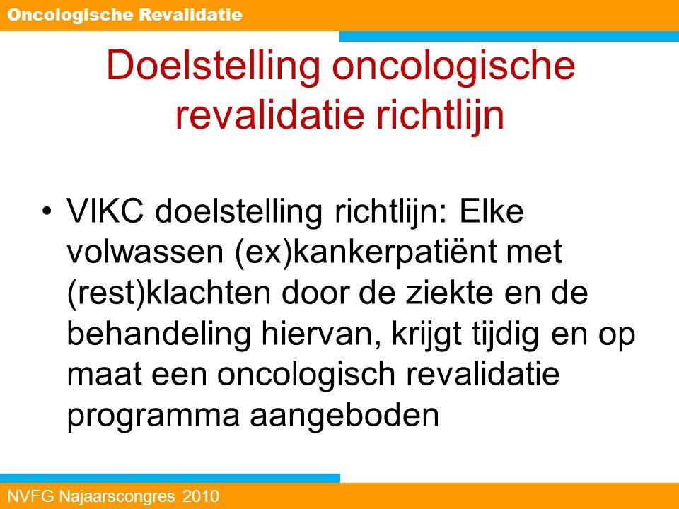 Doelstelling oncologische revalidatie richtlijn VIKC doelstelling richtlijn: Elke volwassen (ex)kankerpatiënt met (rest)klachten door de ziekte en de