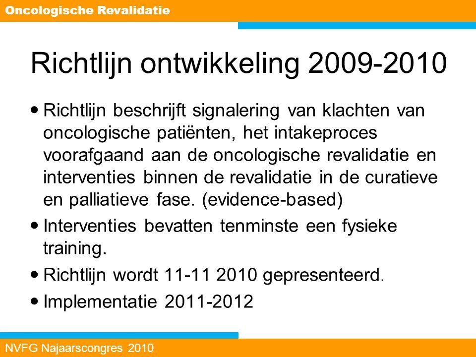 Richtlijn ontwikkeling 2009-2010 Richtlijn beschrijft signalering van klachten van oncologische patiënten, het intakeproces voorafgaand aan de oncolog