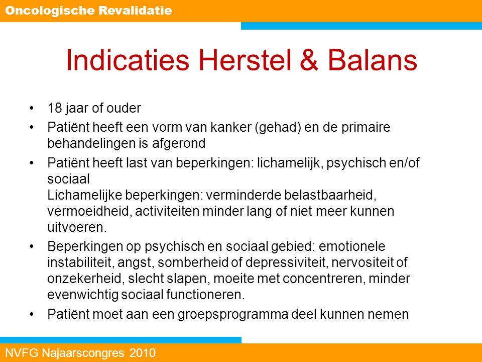 Indicaties Herstel & Balans 18 jaar of ouder Patiënt heeft een vorm van kanker (gehad) en de primaire behandelingen is afgerond Patiënt heeft last van