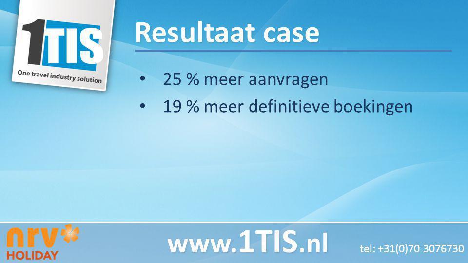 Resultaat case 25 % meer aanvragen 19 % meer definitieve boekingen www. 1TIS.nl www. 1TIS.nl tel: +31(0)70 3076730