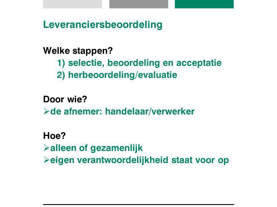 Leveranciersbeoordeling Welke stappen? 1) selectie, beoordeling en acceptatie 2) herbeoordeling/evaluatie Door wie?  de afnemer: handelaar/verwerker