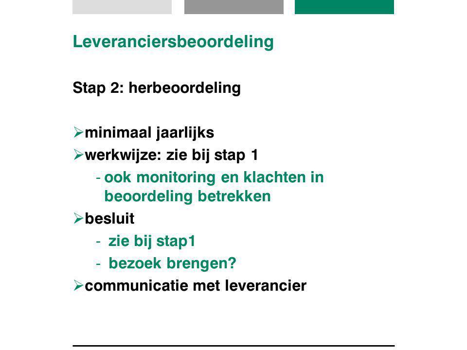 Leveranciersbeoordeling Stap 2: herbeoordeling  minimaal jaarlijks  werkwijze: zie bij stap 1 -ook monitoring en klachten in beoordeling betrekken 