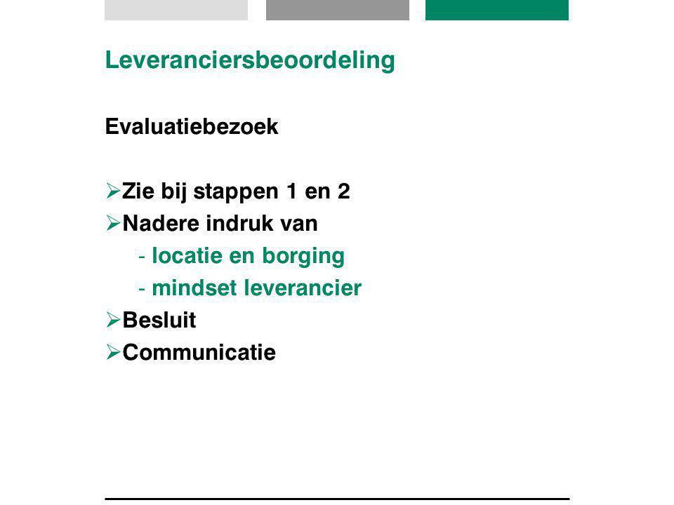 Leveranciersbeoordeling Evaluatiebezoek  Zie bij stappen 1 en 2  Nadere indruk van - locatie en borging - mindset leverancier  Besluit  Communicat