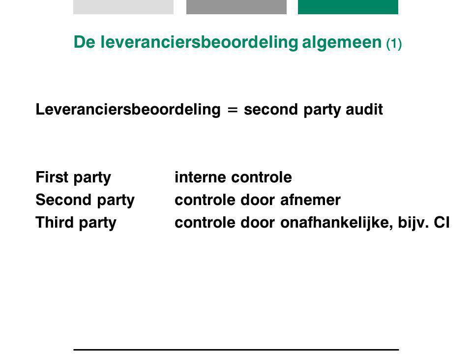 De leveranciersbeoordeling algemeen (1) Leveranciersbeoordeling = second party audit First partyinterne controle Second partycontrole door afnemer Thi