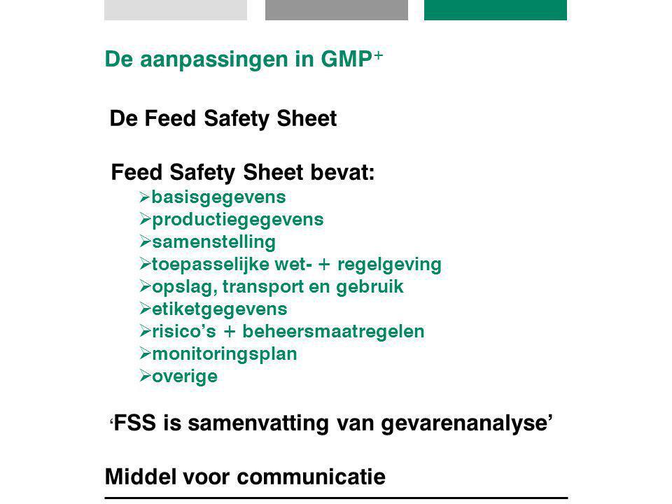 De aanpassingen in GMP + De Feed Safety Sheet Feed Safety Sheet bevat:  basisgegevens  productiegegevens  samenstelling  toepasselijke wet- + rege