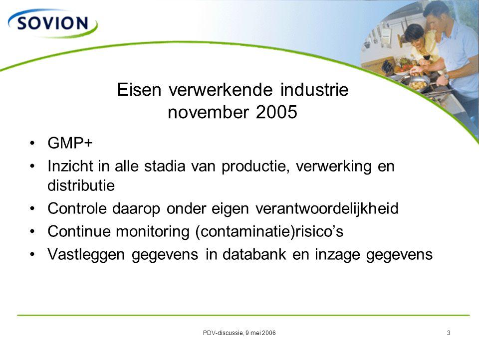PDV-discussie, 9 mei 20064 Tracking & tracing – 4 uurs criterium Werken met code voor crisismanagement snelheid / effectiviteit / transparantie Adequate verzekering voor risico's mbt productaansprakelijkheid in de keten, inclusief vervolgschade verwerking en afzet Eisen verwerkende industrie november 2005