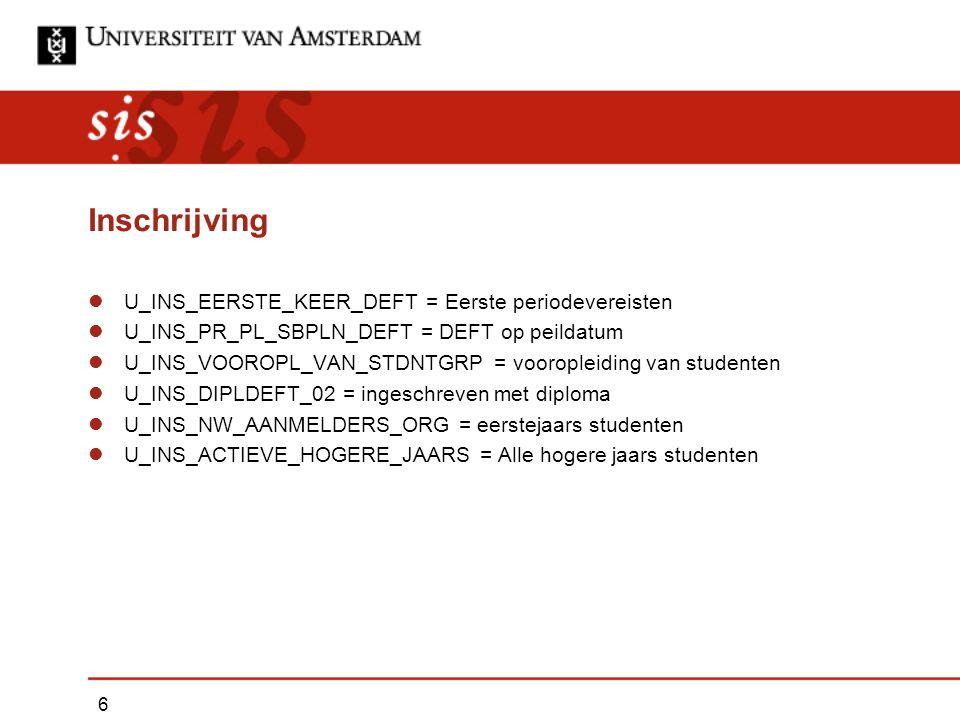 Inschrijving U_INS_EERSTE_KEER_DEFT = Eerste periodevereisten U_INS_PR_PL_SBPLN_DEFT = DEFT op peildatum U_INS_VOOROPL_VAN_STDNTGRP = vooropleiding van studenten U_INS_DIPLDEFT_02 = ingeschreven met diploma U_INS_NW_AANMELDERS_ORG = eerstejaars studenten U_INS_ACTIEVE_HOGERE_JAARS = Alle hogere jaars studenten 6