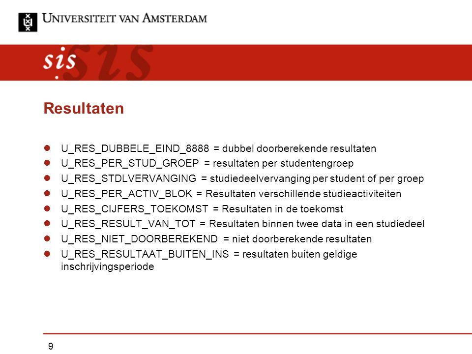 Resultaten U_RES_DUBBELE_EIND_8888 = dubbel doorberekende resultaten U_RES_PER_STUD_GROEP = resultaten per studentengroep U_RES_STDLVERVANGING = studiedeelvervanging per student of per groep U_RES_PER_ACTIV_BLOK = Resultaten verschillende studieactiviteiten U_RES_CIJFERS_TOEKOMST = Resultaten in de toekomst U_RES_RESULT_VAN_TOT = Resultaten binnen twee data in een studiedeel U_RES_NIET_DOORBEREKEND = niet doorberekende resultaten U_RES_RESULTAAT_BUITEN_INS = resultaten buiten geldige inschrijvingsperiode 9