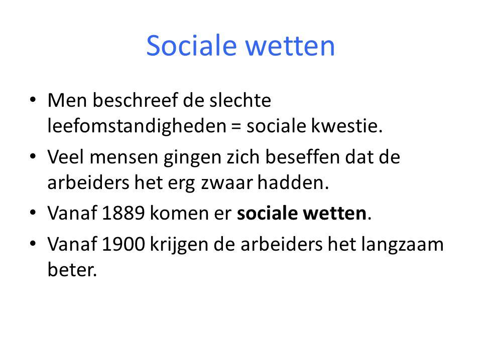 Sociale wetten Men beschreef de slechte leefomstandigheden = sociale kwestie. Veel mensen gingen zich beseffen dat de arbeiders het erg zwaar hadden.