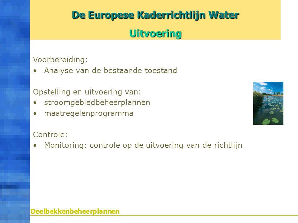 Voorbereiding: Analyse van de bestaande toestand Opstelling en uitvoering van: stroomgebiedbeheerplannen maatregelenprogramma Controle: Monitoring: co