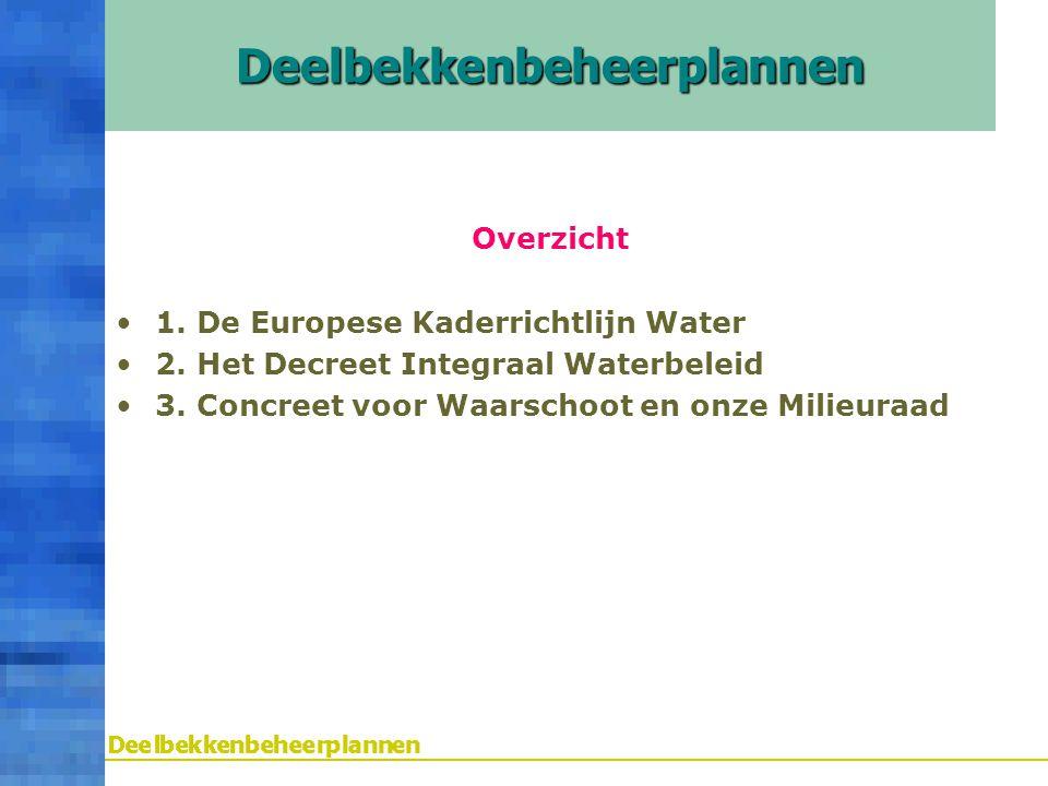Overzicht 1. De Europese Kaderrichtlijn Water 2. Het Decreet Integraal Waterbeleid 3. Concreet voor Waarschoot en onze MilieuraadDeelbekkenbeheerplann