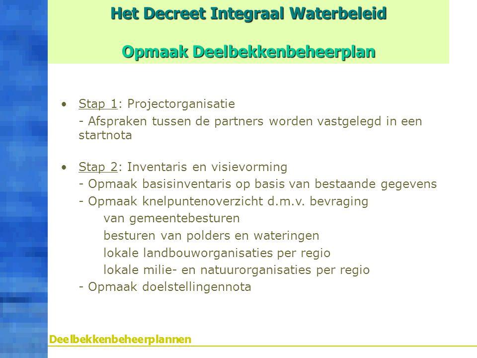 Het Decreet Integraal Waterbeleid Opmaak Deelbekkenbeheerplan Stap 1: Projectorganisatie - Afspraken tussen de partners worden vastgelegd in een start