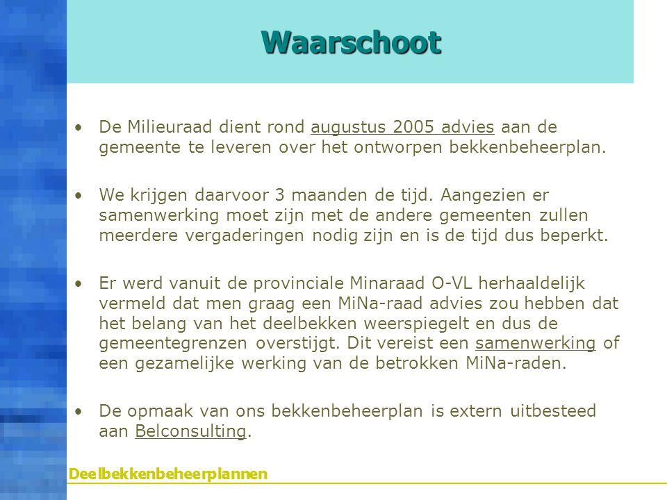 De Milieuraad dient rond augustus 2005 advies aan de gemeente te leveren over het ontworpen bekkenbeheerplan. We krijgen daarvoor 3 maanden de tijd. A