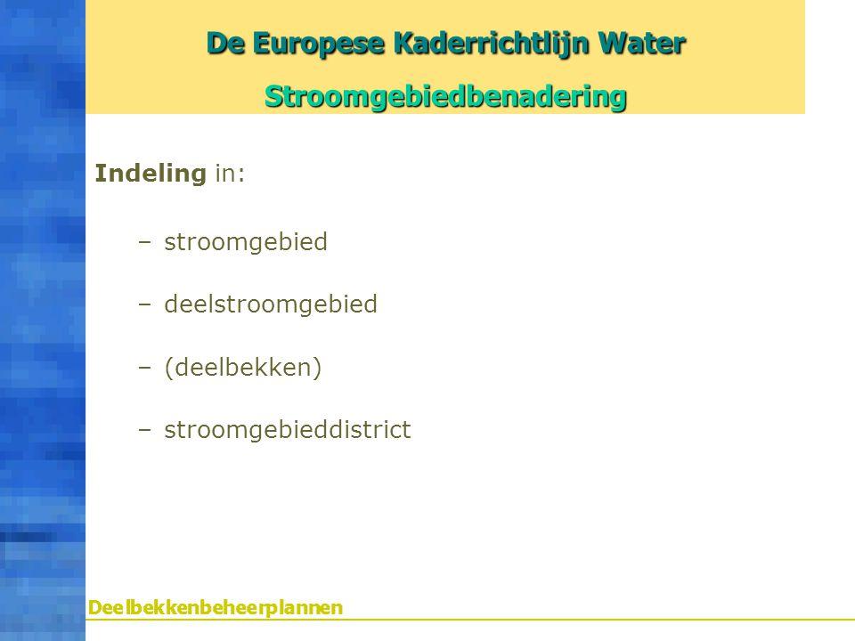 Indeling in: –stroomgebied –deelstroomgebied –(deelbekken) –stroomgebieddistrict De Europese Kaderrichtlijn Water Stroomgebiedbenadering