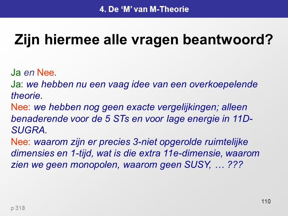 110 Zijn hiermee alle vragen beantwoord.4. De 'M' van M-Theorie Ja en Nee.