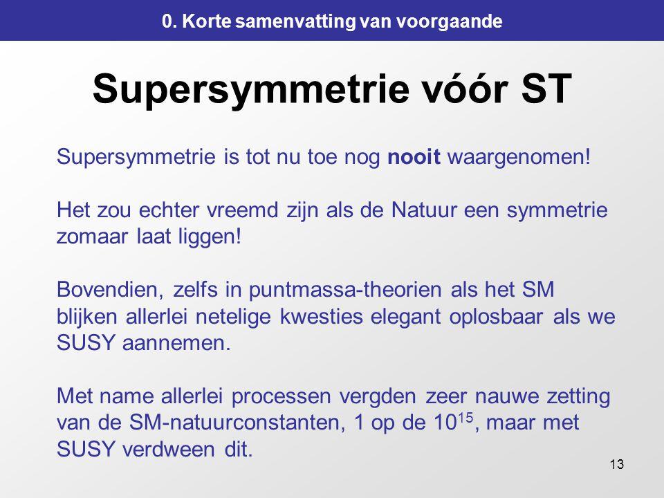 13 Supersymmetrie vóór ST Supersymmetrie is tot nu toe nog nooit waargenomen.