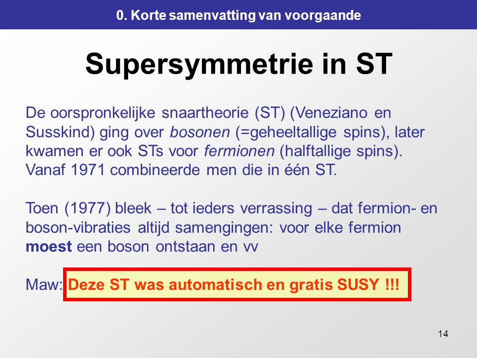 14 Supersymmetrie in ST 0.