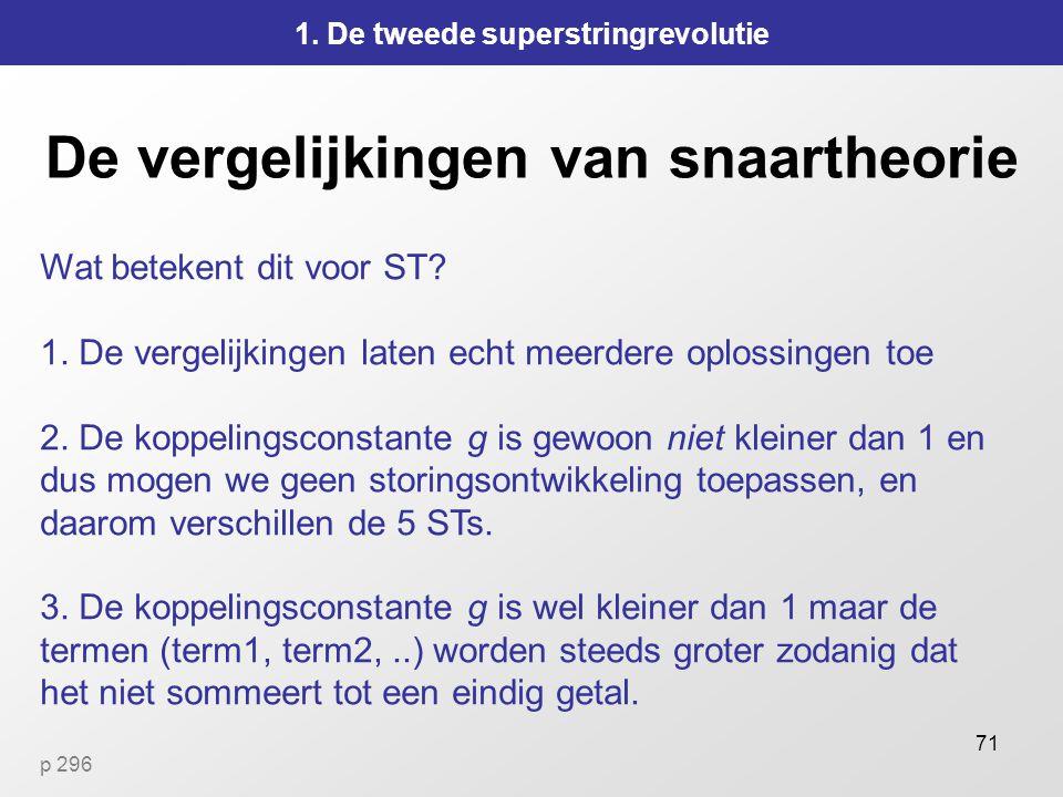 71 De vergelijkingen van snaartheorie 1.De tweede superstringrevolutie Wat betekent dit voor ST.