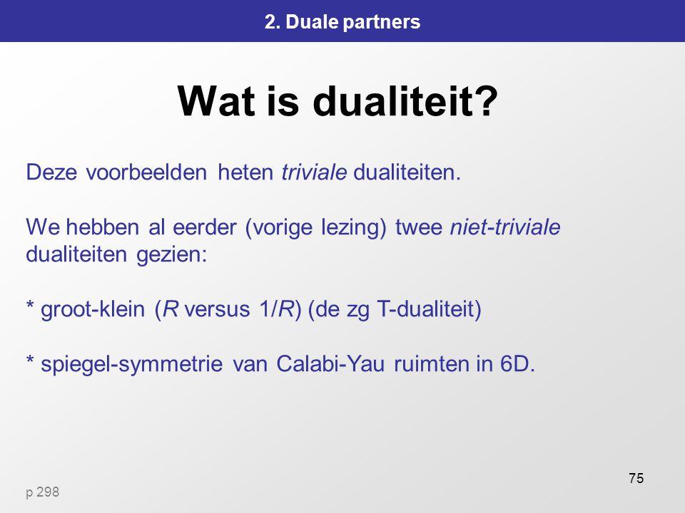 75 Wat is dualiteit.2. Duale partners Deze voorbeelden heten triviale dualiteiten.