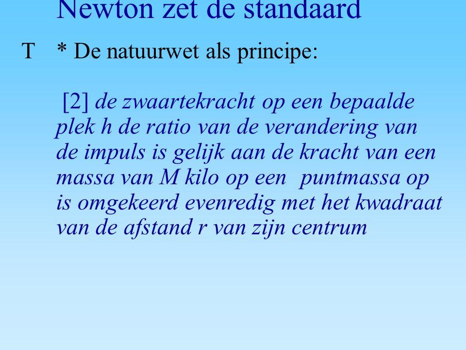 Newton zet de standaard T* De natuurwet als principe: [2] de zwaartekracht op een bepaalde plek h de ratio van de verandering van de impuls is gelijk