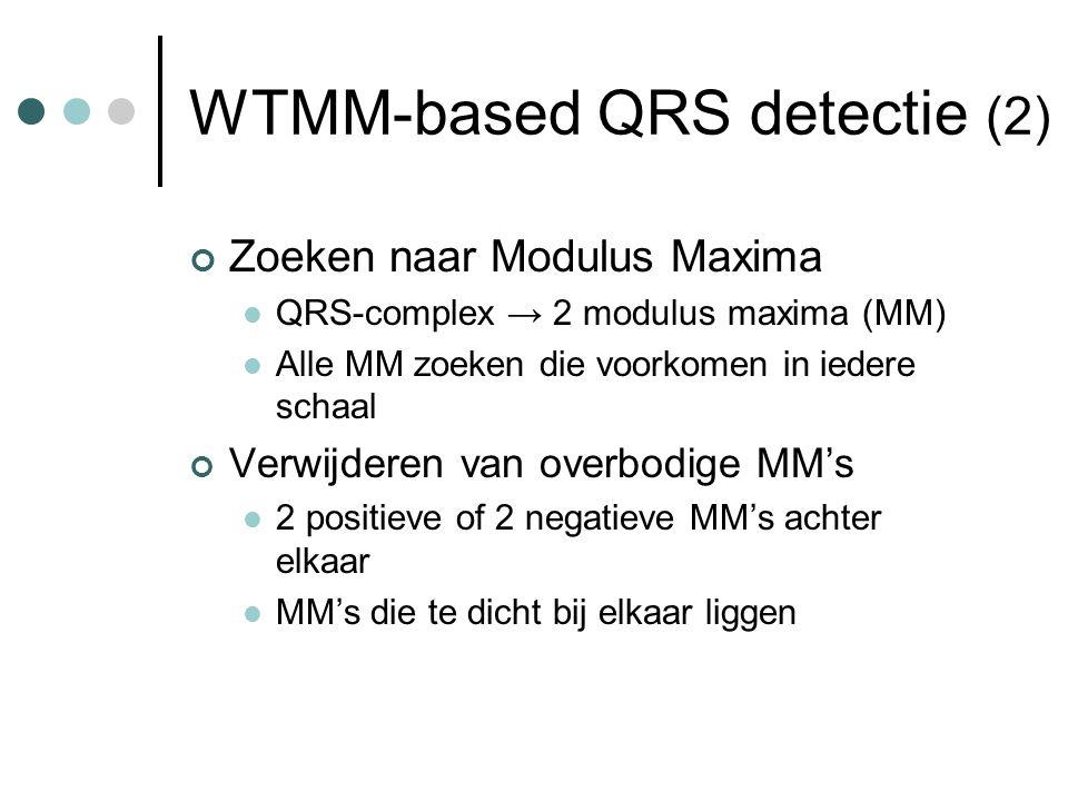 WTMM-based QRS detectie (2) Zoeken naar Modulus Maxima QRS-complex → 2 modulus maxima (MM) Alle MM zoeken die voorkomen in iedere schaal Verwijderen van overbodige MM's 2 positieve of 2 negatieve MM's achter elkaar MM's die te dicht bij elkaar liggen