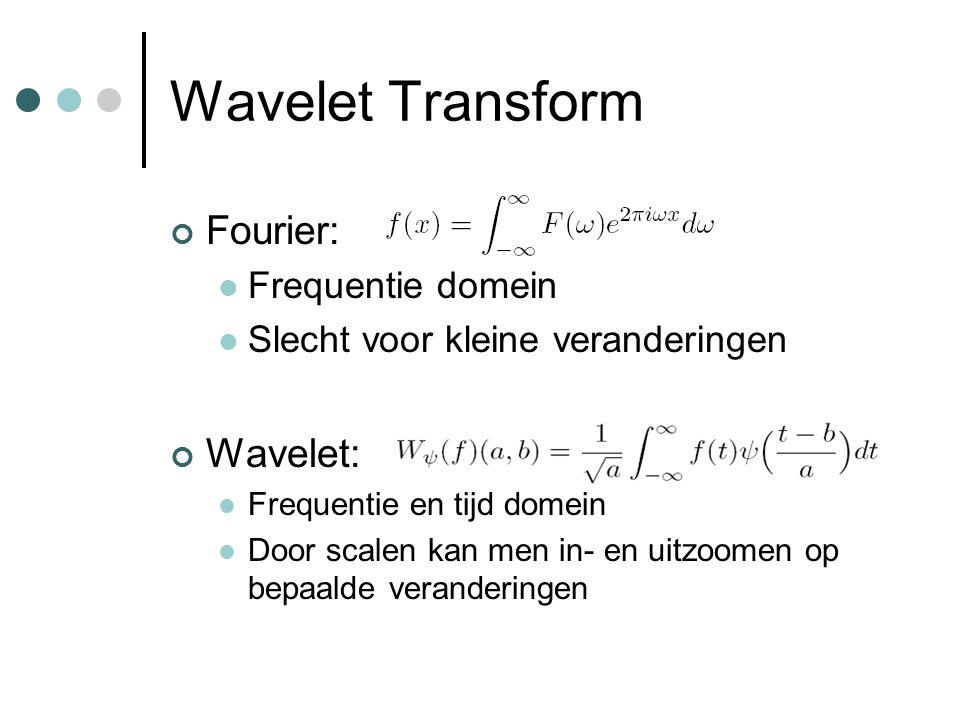 Wavelet Transform Fourier: Frequentie domein Slecht voor kleine veranderingen Wavelet: Frequentie en tijd domein Door scalen kan men in- en uitzoomen op bepaalde veranderingen