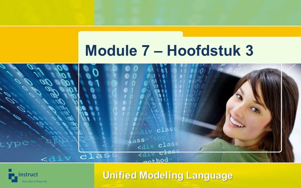 Unified Modeling Language (1) UML is in 1996 ontstaan Fusie van drie bestaande objectgeoriënteerde methoden: –Object Modeling –OOSE –De methode van Grady Booch