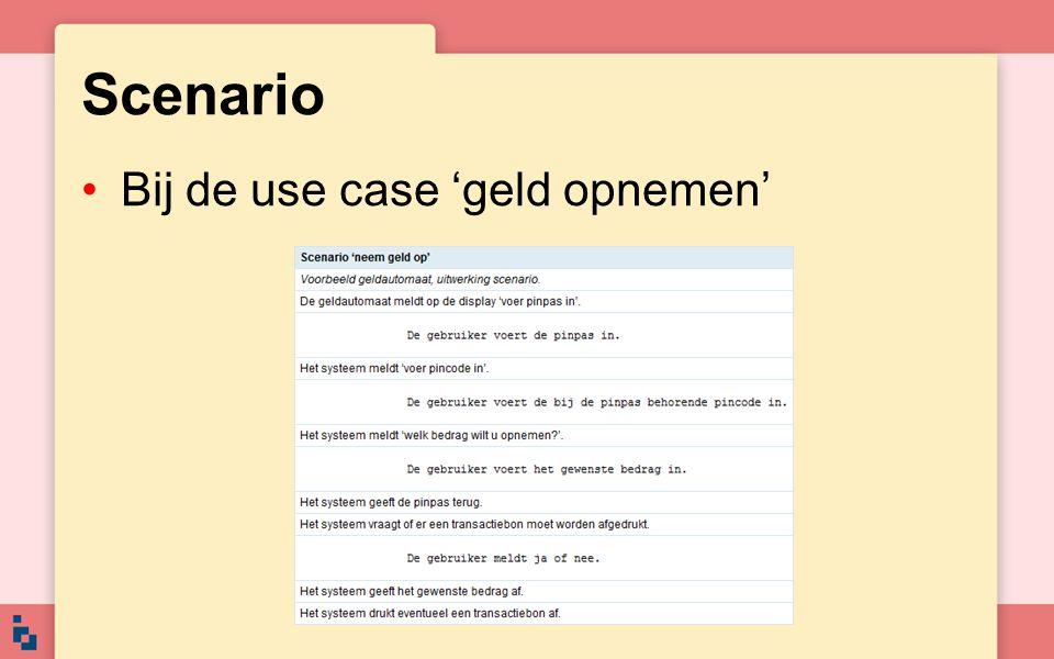 Scenario Bij de use case 'geld opnemen'