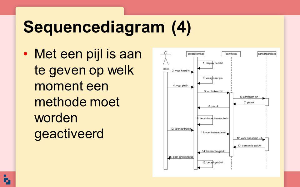 Sequencediagram (4) Met een pijl is aan te geven op welk moment een methode moet worden geactiveerd