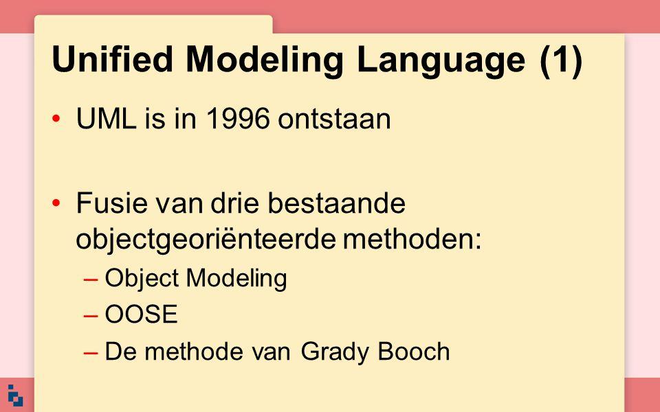 Unified Modeling Language (1) UML is in 1996 ontstaan Fusie van drie bestaande objectgeoriënteerde methoden: –Object Modeling –OOSE –De methode van Gr